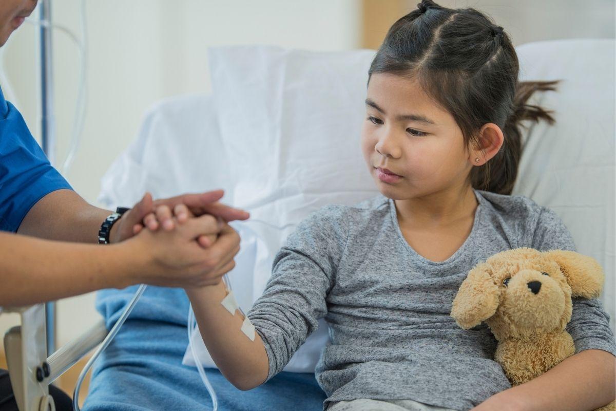 Patient in hospital ward